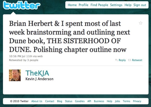 Kevin J. Anderson's Twitter