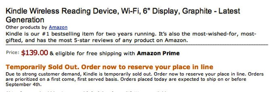 Amazon sells out of Kindles